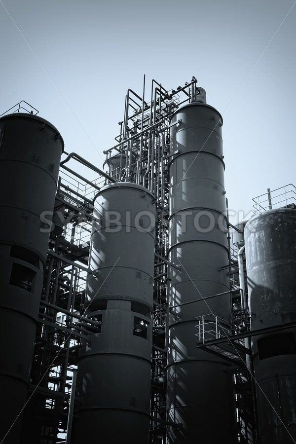 Coal washing plant silos - Jan Brons Stock Images