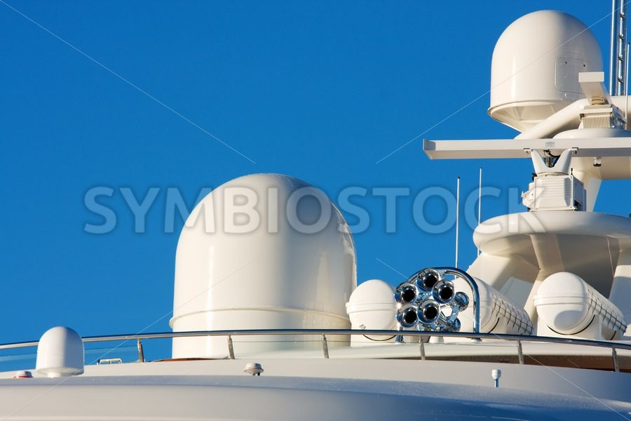 Communication and safety equipment onboard yacht - Jan Brons Stock Images
