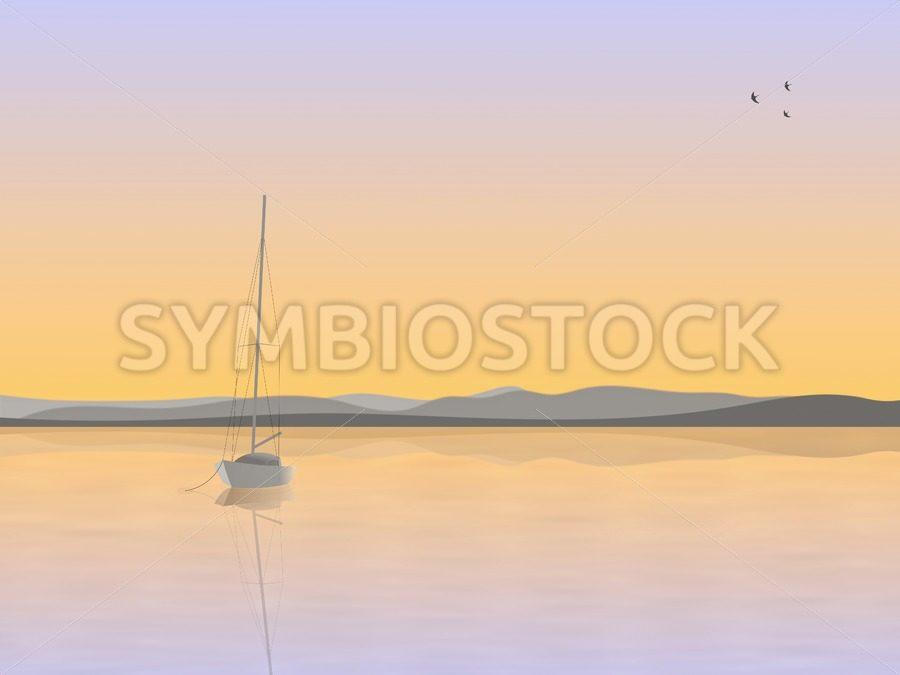 Sailboat anchored