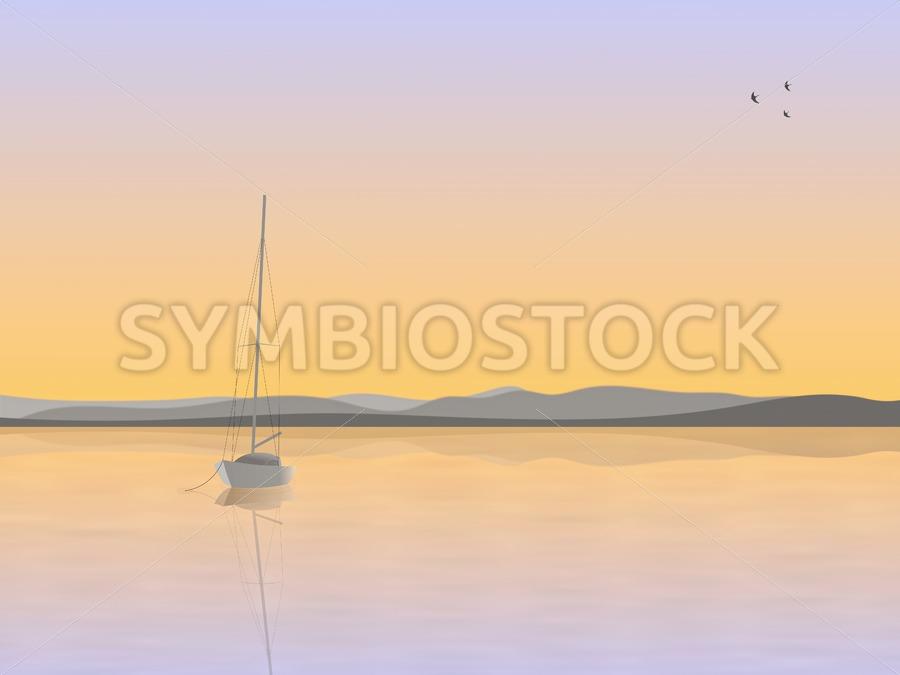 Sailboat anchored - Jan Brons Stock Images